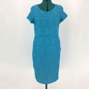 Michael Tyler Blue Short Sleeve Dress, Large